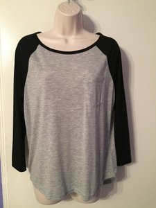 H&M Long Sleeve T Shirt Grey/black