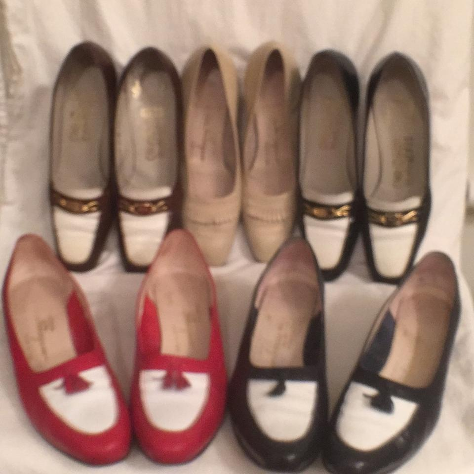 Salvatore Ferragamo White Navy Red Brown Beige Comfortable 5 Pair Aa Classic Comfortable Beige All Leather Loafers Pumps a354f5