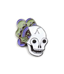 NEW Butterfly Skull Artisan Indie Lapel Pin Purple White