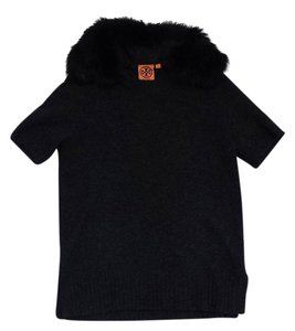 Tory Burch Grey Wool Fur Collar Sweater