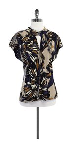 Trina Turk Navy Grey Print Silk Top