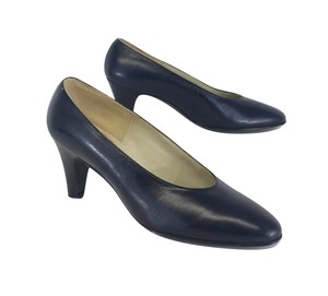 Delman Navy Leather Pointed Toe Pumps