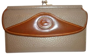 Dooney & Bourke Taupe and Tan Tri Fold Leather Wallet