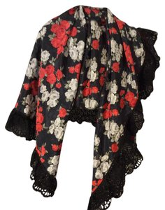 Women's Black/Red/White Flowered Lace Trimmed Scarf Shawl Wrap 47