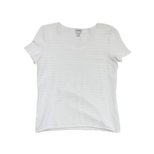 Armani Collezioni White Crinkle Short Sleeve Top
