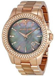 Michael Kors Crystal Pave Grey Mother of Pearl Rose Gold tone Ladies Designer Watch
