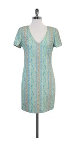 Trina Turk short dress Blue Tone Short Sleeve Sheath on Tradesy