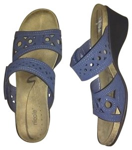 Nicole Leather Wedge Free Shipping Blue Sandals