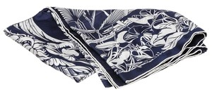 Hermès Hermes Blue and White Tatouage Flamingo Party Scarf