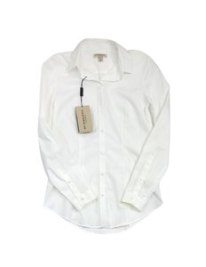 Burberry White Cotton Button Up Top