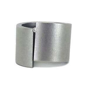 Niessing Stainless Steel & Diamond Asymmetrical Ring