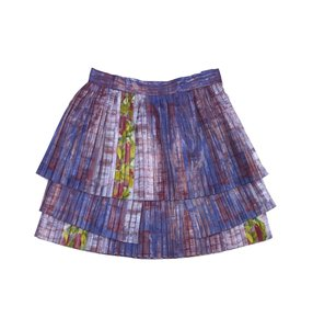 SUNO Red Blue Print Pleated Skirt