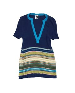 Missoni Short Sleeve Striped Knit Top Blue