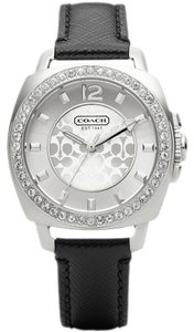 Coach NWT Coach Signature Boyfriend 14501789 Black Leather Glitz Watch