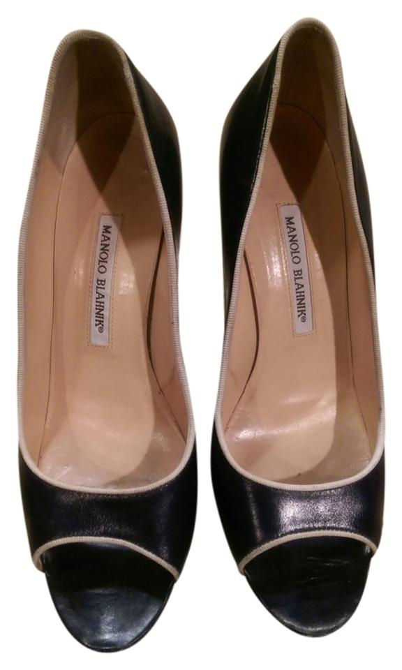 Manolo Navy Blahnik Navy Manolo Canazza Peep Toe Pumps 987465