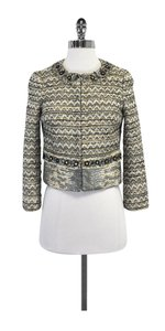 Tory Burch Gold Chevron Tweed Beaded Vanessa Jacket