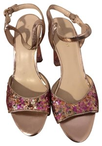 Nine West Lucite Sequin Multi Gold Pumps