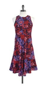 Rebecca Taylor short dress Red Purple Floral Silk on Tradesy