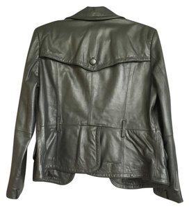 Macy's metallic gray Leather Jacket