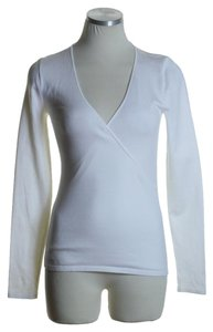 Ralph Lauren Black Label Knit Long Sleeve V-neck Top White