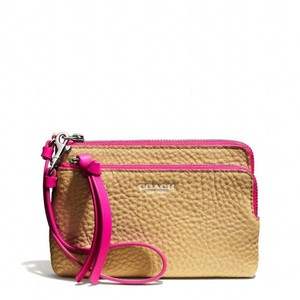 Coach Wristlet in Camel / Pink Ruby
