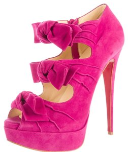 Christian Louboutin Madame Butterfly Peep Toe Bow Pink Boots