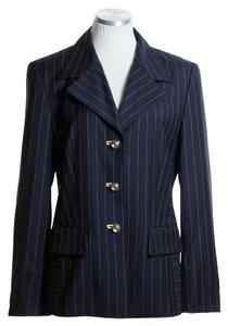 Escada Woven Striped Long Sleeve Career Black Blazer