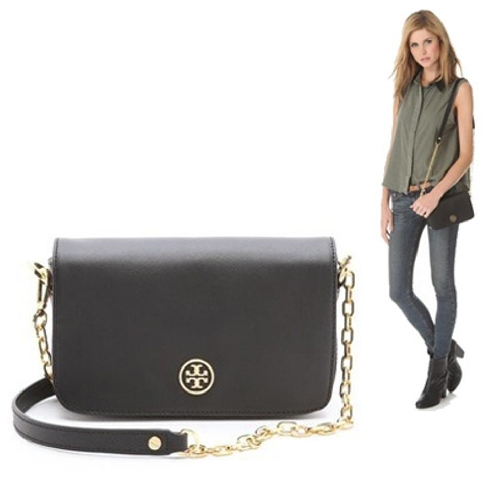 5e4b9abae45 Tory Burch Robinson Chain Mini Shoulder Black Gold Saffiano Leather Cross  Body Bag - Tradesy