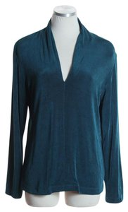 Chico's Long Sleeve Knit V-neck Top Teal Green
