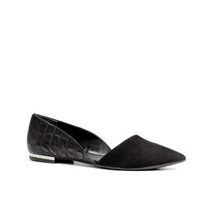 Messeca Black Crocodile Flats Black Flats