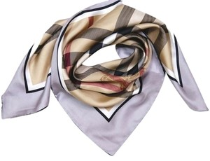 Burberry NWT Authentic Burberry Beige Black Gray Check Silk Square Scarf