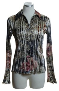 Komarov Woven Lace Trim Long Sleeve Crinkled Printed Button Down Shirt Brown Multi