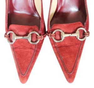 Gucci Horsebit Suede Classic Brick Red Pumps