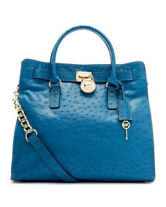 Michael Kors Hamilton Ostrich Leather Tote in teal