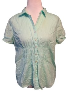 Eddie Bauer Shortsleeve Casual Cotton Button Down Shirt Mint Blue