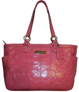 Coach Pink Patent Leather Galley Pink Embossed Tote in Rose Pink