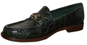 Gucci Leather Loafers Green Flats