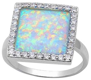 9.2.5 Very unique rainbow opal square cocktail ring size 9