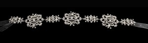 Lacy Flower Rhinestone Wedding Dress Belt Sash