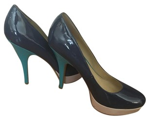 Enzo Angiolini Color Block Heels Work Attire Night Out Blue Pumps