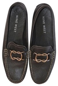 Nine West Loafers Leather Black/Gold Flats