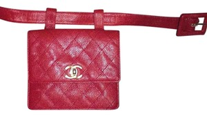 Chanel Fanny Pack Belt Caviar Red Clutch