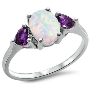 9.2.5 stunning opal and amethyst cocktail ring size 7