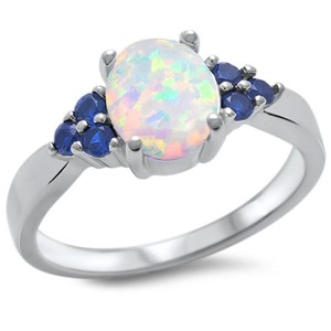 9.2.5 stunning opal and blue sapphire cocktail ring size 8