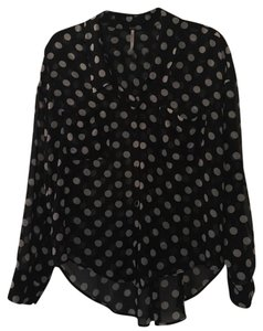 Free People Top Black with white polka dots