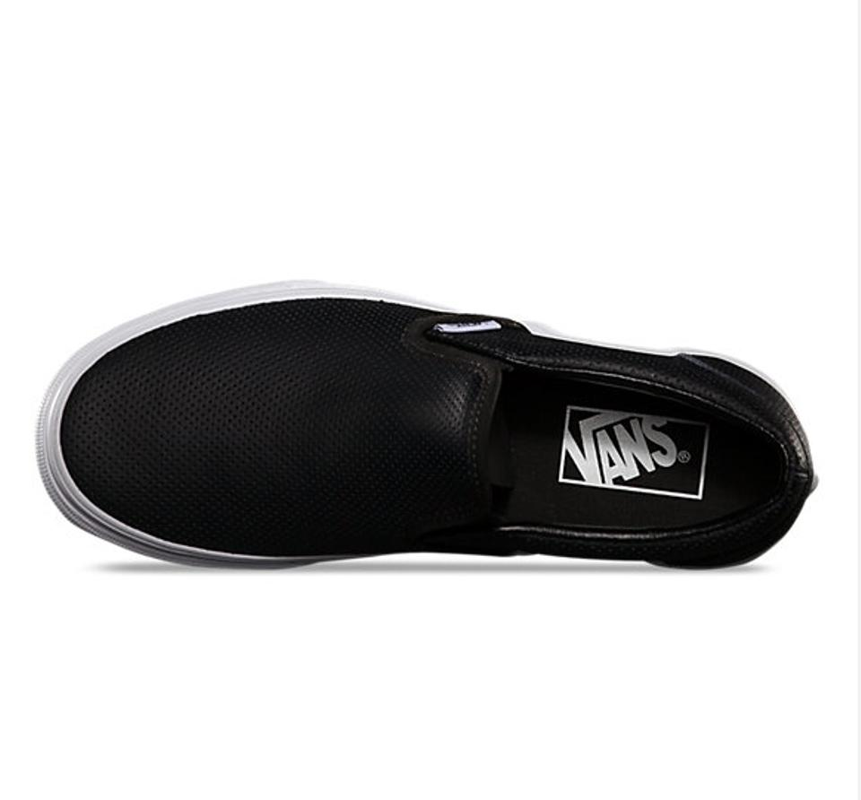 44f27e8289 Vans Leather Leather Slip Ons Perforated Slip On Black Athletic Image 3.  1234