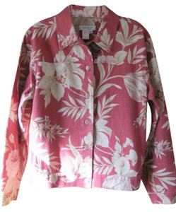 Coldwater Creek Pm Floral Cotton Coral Red Jacket