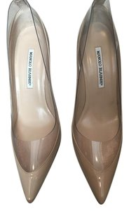 Manolo Blahnik Taupe/Clear Pumps