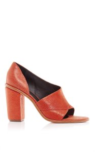 Tibi Leather Orange Chunky Heel Party Wedding Burnt Orange Mules
