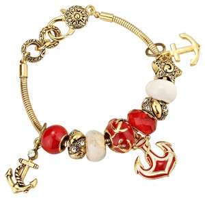Other Russian Gold Red Nautical Anchor Charm Bracelet